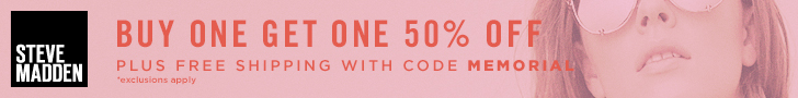 BOGO 50% off plus Free Shipping with exclusions. Use promo code: MEMORIAL. Valid 5/25-5/30