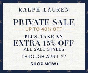 300 x 250 Private Sale Event:  Up to 40% Off! Plus, Take an Extra 15% Off All Sale Styles with Code PRIVATE17. Offer valid 4/20-4/27