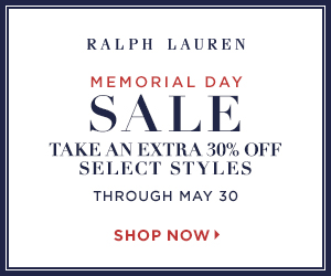 300 x 250 Memorial Day Sale! Take an extra 30% off select styles with Code: MEMDAY. Valid 5/23-5/30.