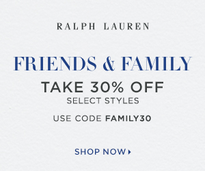 300 x 250 Friends Family event! Take 30% off select styles with code: FAMILY30. Valid 9/16-9/28.