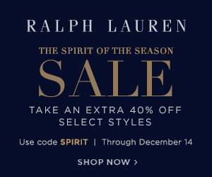 300 x 250 Spirit of the Season: Take an extra 40% off select styles with code SPIRIT. Valid 12/11/17-12/14/17.