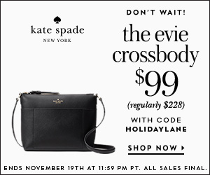 the evie crossbody now for $99 (regularly $228) with code HOLIDAYLANE. valid 11/17 - 11/19. don't wait! shop at kate spade now!