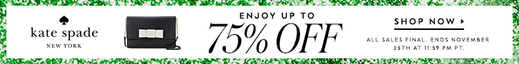 kate spade black friday surprise sale! enjoy up to 75% off plus free shipping when you spend over $99. valid 11/19 - 11/25. all sales final. shop now!