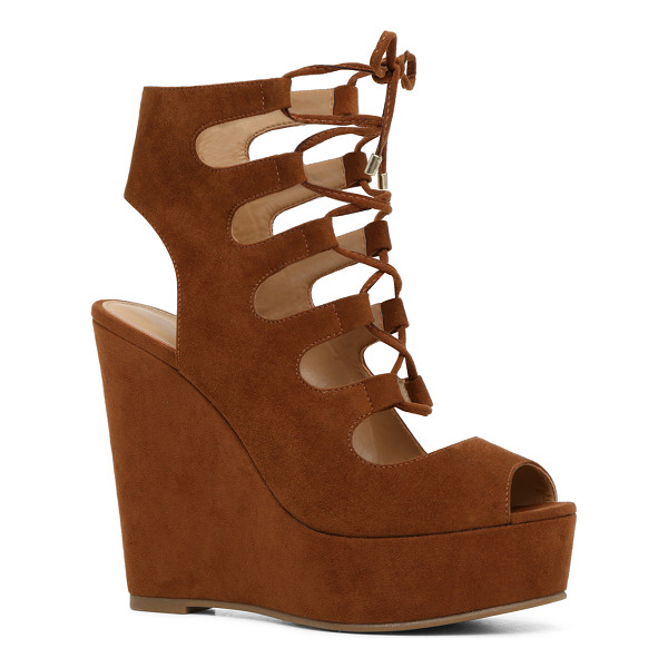 ALDO Jennelle - A striking ghillie-inspired sandal with atowering wedge