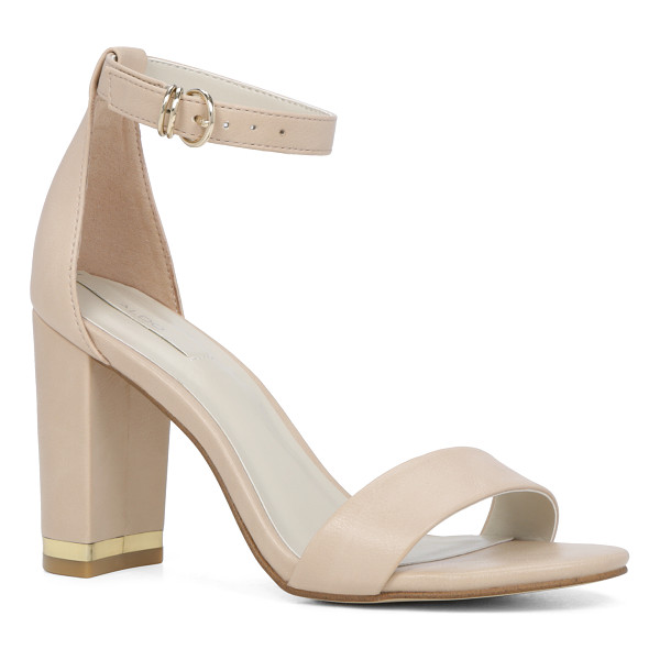 ALDO Schaffert - Minimalist straps and a square heel embellished with a...
