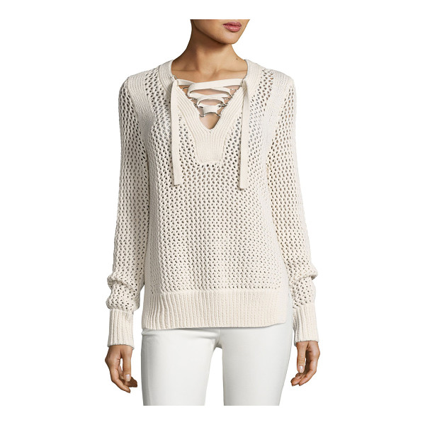 10 CROSBY DEREK LAM Crochet Lace-Up Pullover Sweater - Derek Lam 10 Crosby cotton sweater in crochet knit with...