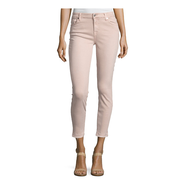 7 FOR ALL MANKIND The Ankle Skinny Jeans with Released Hem - 7 For All Mankind jeans in light pink denim. Five-pocket...