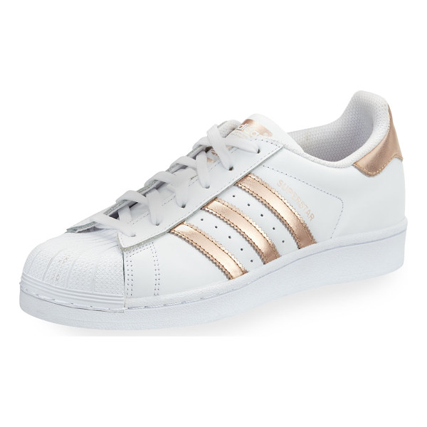 ADIDAS Superstar Original Fashion Sneaker - adidas leather low-top sneaker with metallic striped sides....