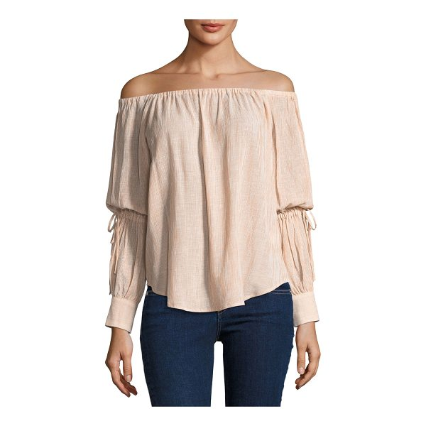 """AG ADRIANO GOLDSCHMIED Tallulah Off-the-Shoulder Drawstring-Sleeve Linen-Blend Top - AG """"Tallulah"""" top in textured linen-blend. Off-the-shoulder..."""