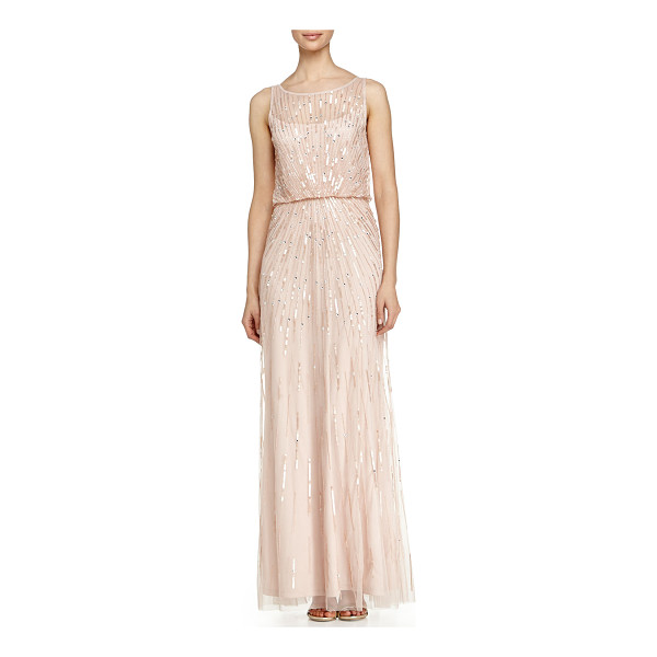 AIDAN BY AIDAN MATTOX Illusion-Neck Beaded Gown - Aidan Mattox tulle evening gown bedecked with sequins in...