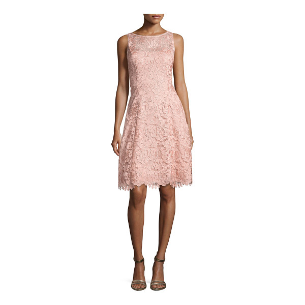 "AIDAN MATTOX Bato Sleeveless Lace Sheath Dress - Aidan Mattox ""Bato"" cocktail dress in lace. Approx. 37.75""L..."