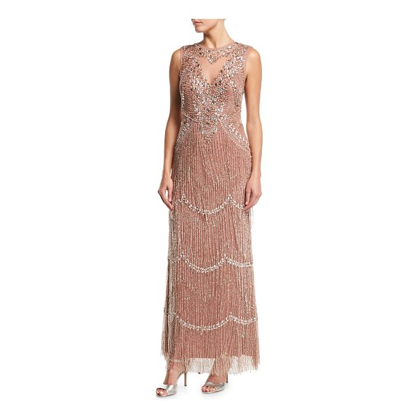 AIDAN MATTOX Beaded Deep-Neck Fringed Sleeveless Evening Gown - Aidan Mattox embellished evening gown with beaded fringe....