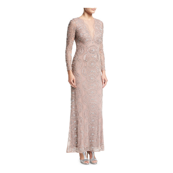AIDAN MATTOX Beaded Illusion-Neck Long-Sleeve Cutout-Back Evening Gown - EXCLUSIVELY AT NEIMAN MARCUS Aidan Mattox evening gown in...