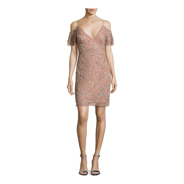 AIDAN MATTOX Beaded Paisley Cold-Shoulder Cocktail Dress - EXCLUSIVELY AT NEIMAN MARCUS Aidan Mattox mesh cocktail...