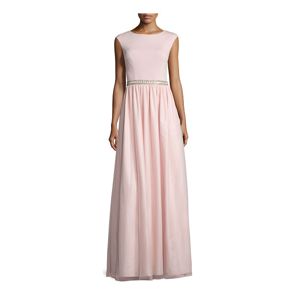 AIDAN MATTOX Cap-Sleeve Jersey Combo Gown - Aidan Mattox Bridesmaid gown combines jersey top and...