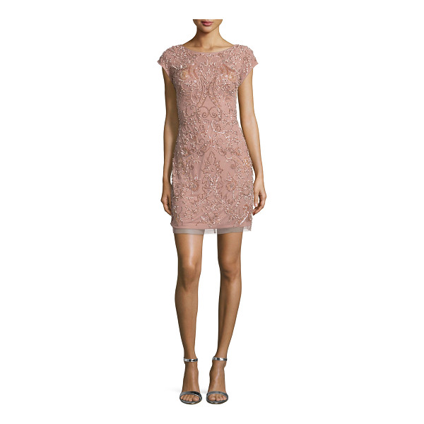 "AIDAN MATTOX Cap-Sleeve Beaded Cocktail Dress - Aidan Mattox beaded mesh cocktail dress. Approx. 19"" to..."