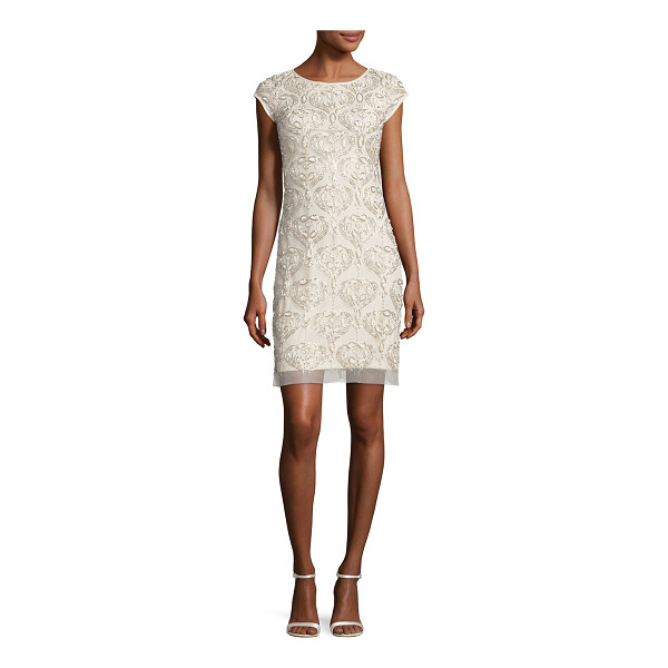 AIDAN MATTOX Cap-Sleeve Beaded Damask Cocktail Dress - Aidan Mattox cocktail dress in beaded damask jacquard....