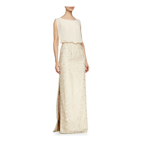 AIDAN MATTOX Chiffon-top lace-skirt gown - Aidan Mattox gown with chiffon top and paisley lace skirt....