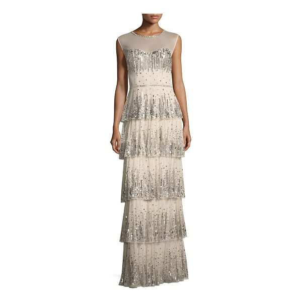 AIDAN MATTOX Embellished Five-Tier Long Evening Gown - Aidan Mattox embellished tiered long evening gown. Approx....