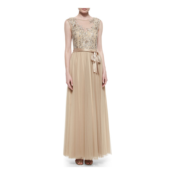 AIDAN MATTOX Embellished tulle cap-sleeve gown - Aidan Mattox tulle mesh dress with an embroidered,...