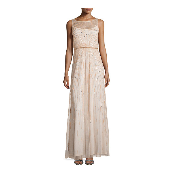 AIDAN MATTOX Illusion-neck beaded gown - Aidan Mattox tulle evening gown bedecked sequins in...
