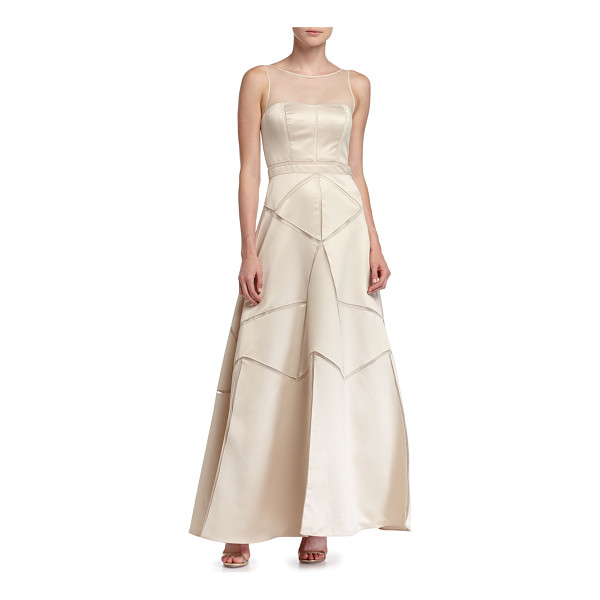 AIDAN MATTOX Satin Fit & Flare Illusion Gown - Aidan Mattox satin gown with mesh cutout insets. Jewel...