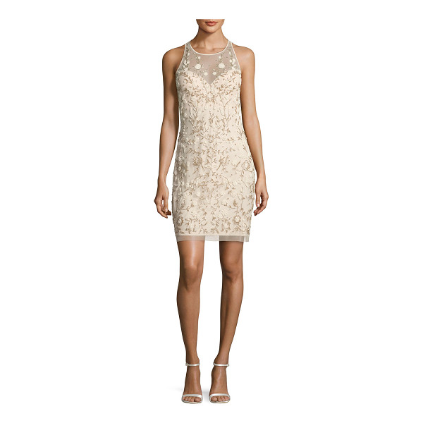 AIDAN MATTOX Sleeveless Beaded Floral Sheath Dress - Aidan Mattox mesh cocktail dress with floral beading....