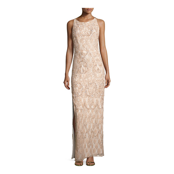 AIDAN MATTOX Sleeveless Beaded Lace Column Gown - EXCLUSIVELY AT NEIMAN MARCUS Aidan Mattox evening gown in...