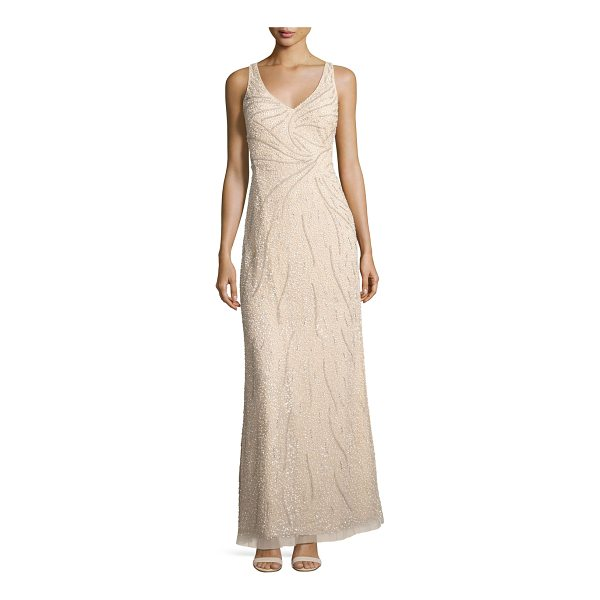 AIDAN MATTOX Sleeveless Beaded Tulle Gown - Aidan Mattox evening gown in tulle with patterned beading....