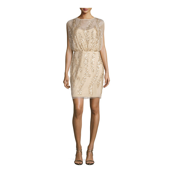 AIDAN MATTOX Sleeveless Embellished Tulle Cocktail Dress - Aidan Mattox tulle cocktail dress with patterned...
