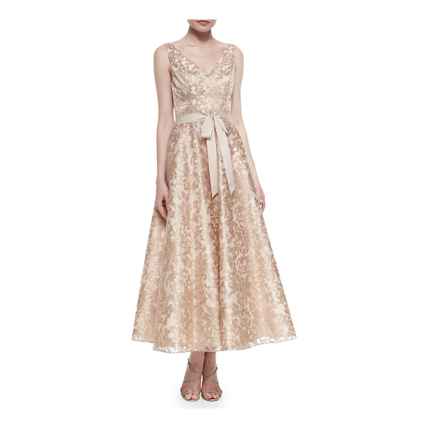 AIDAN MATTOX Sleeveless lace tea-length dress -  Aidan Mattox metallic lace dress. Approx. measurements:...
