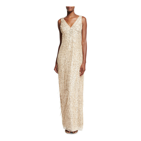 AIDAN MATTOX Sleeveless Sequin & Fringe Column Gown - Aidan Mattox tulle gown with sequin embellishing and fringe...