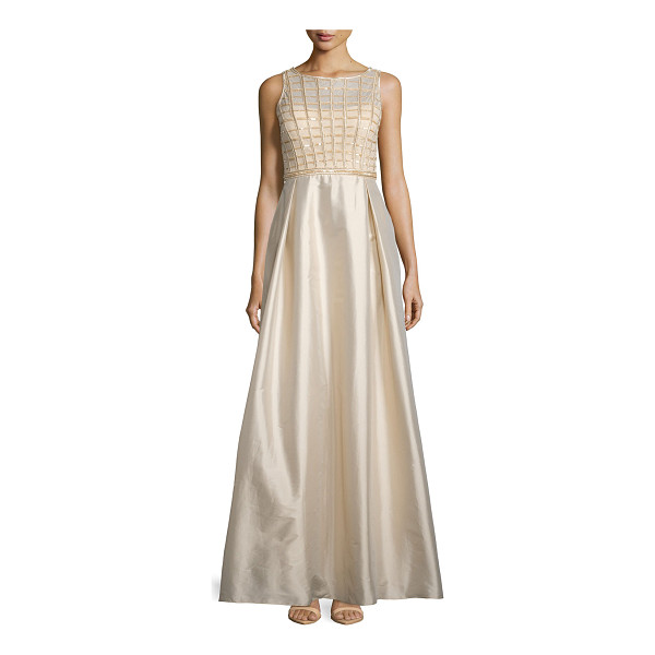 AIDAN MATTOX Sleeveless Sequined-Bodice Taffeta Gown - Aidan Mattox evening gown with sequined bodice and taffeta...