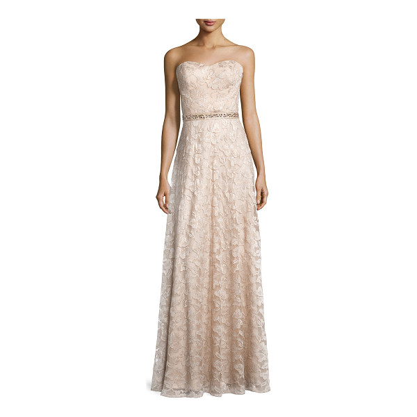 AIDAN MATTOX Sweetheart-neck strapless lace gown - Aidan Mattox lace gown with embellished waist. Skirt length...