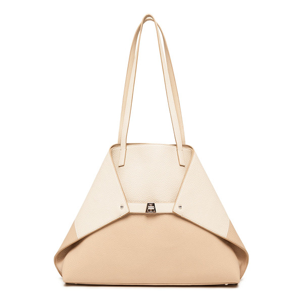 AKRIS Ai Medium Reversible Colorblock Tote Bag - Akris colorblock pebbled leather shoulder bag reverses to