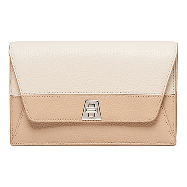 AKRIS Anouck Clutch Bag w/Chain - Akris pebbled cervo leather clutch. Removable chain strap....