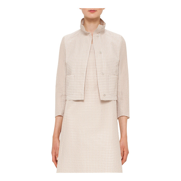 AKRIS Bracelet-Sleeve Short Jacket - Akris jacket featuring tonal square pattern. Stand collar;...