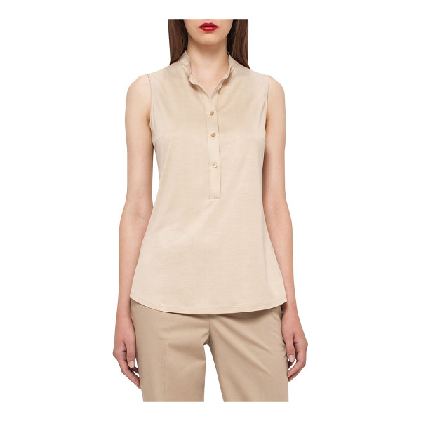 "AKRIS Sleeveless Silk Jersey Blouse - Akris jersey blouse. Approx. 25.5""L from shoulder to hem...."
