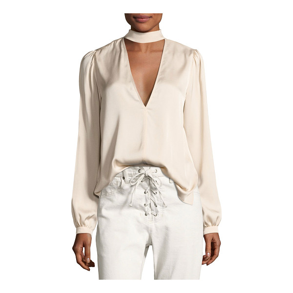 "A.L.C. Liza Choker Silk Top - A.L.C ""Liza"" silk blouse. Choker collar; button-loop and..."