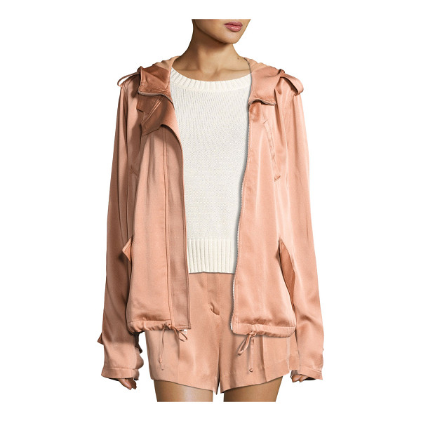 """A.L.C. Theo Sateen Utility Jacket - A.L.C """"Theo"""" sateen jacket. Hooded neckline; zip-front...."""