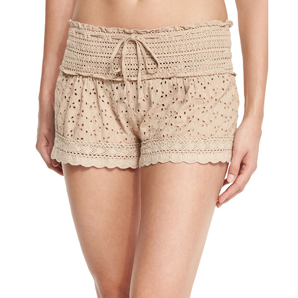 "ALE BY ALESSANDRA Ibiza Eyelet Coverup Shorts - le by Alessandra ""Ibiza"" coverup shorts in eyelet lace with..."