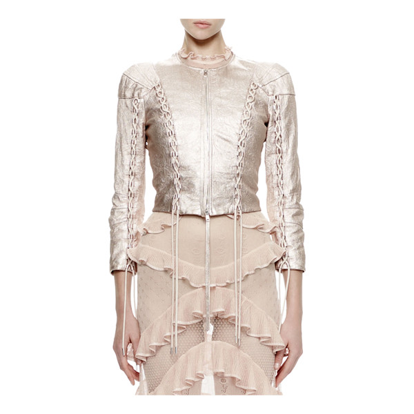 ALEXANDER MCQUEEN 3/4-Sleeve Metallic-Leather Jacket - Alexander McQueen washed lambskin leather jacket. Approx....