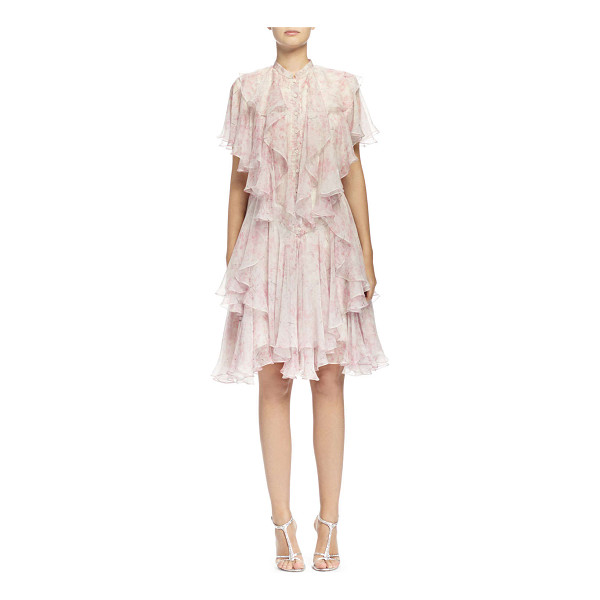 ALEXANDER MCQUEEN Floral-print angled multi-layered ruffle dress -  Alexander McQueen floral-print crepe de Chine angled,...