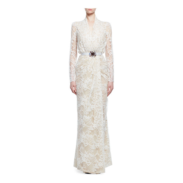 ALEXANDER MCQUEEN Lace Gown W/Embellished Belt - Alexander McQueen lace gown. Surplice neckline. Long...