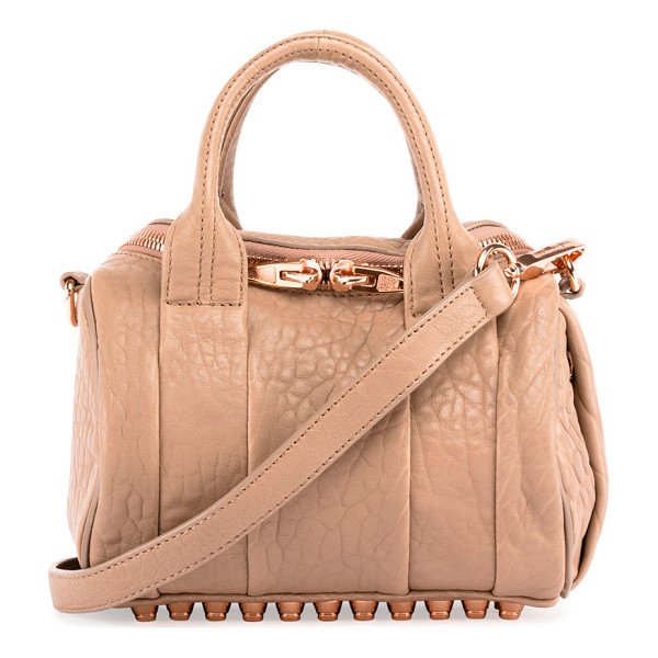 ALEXANDER WANG Mini Rockie Leather Satchel Bag - Alexander Wang pebbled lambskin satchel bag. Rose golden