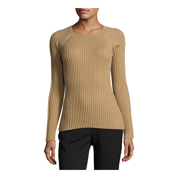 "ALEXANDER WANG Pierced-Sleeve Crewneck Sweater - Alexander Wang ribbed knit sweater. Approx. 22""L from..."