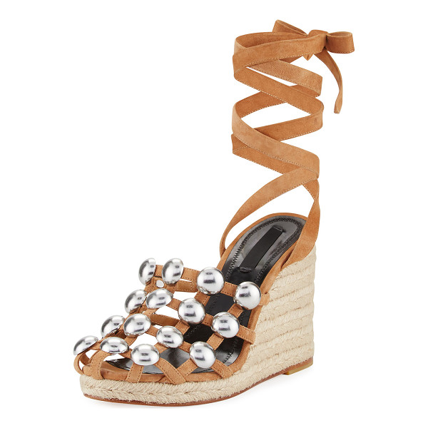 ALEXANDER WANG Taylor Clay Suede Wrap Wedge Sandal - Alexander Wang suede sandal. Jute wedge heel. Round toe.