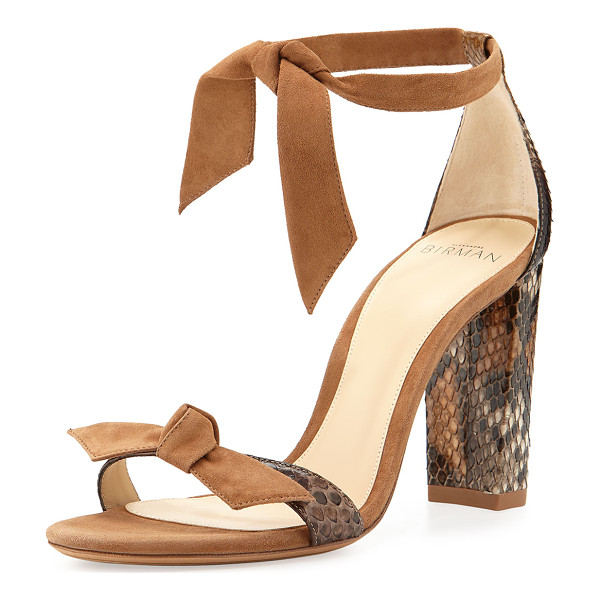 "ALEXANDRE BIRMAN Clarita Suede & Python 90mm Sandal - Alexandre Birman suede and python sandal. 3.5"" covered..."