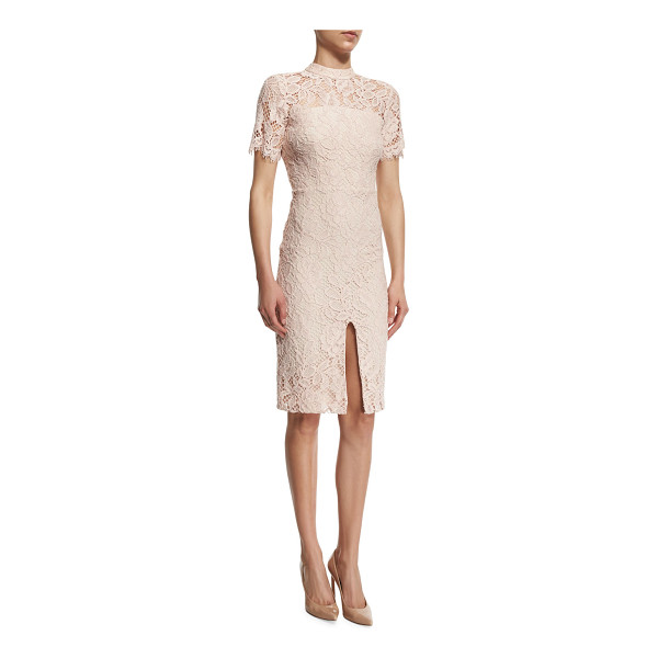 "ALEXIS Ardella Short-Sleeve Lace Sheath Dress - Alexis ""Ardella"" dress in floral lace. Mock neckline with..."