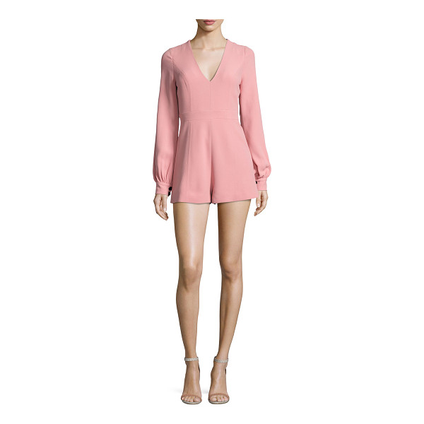 "ALEXIS Kourtney Long-Sleeve Romper - Alexis ""Kourtney"" romper in crepe. V neckline. Long bishop..."